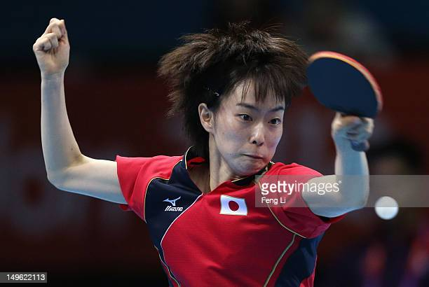 Kasumi Ishikawa of Japan competes during her Women's Singles Table Tennis Bronze Medal match against Tianwei Feng of Singapore on Day 5 of the London...