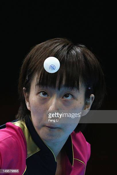 Kasumi Ishikawa of Japan competes during the Women's Singles Table Tennis match against Xiaoxia Li of China on on Day 4 of the London 2012 Olympic...