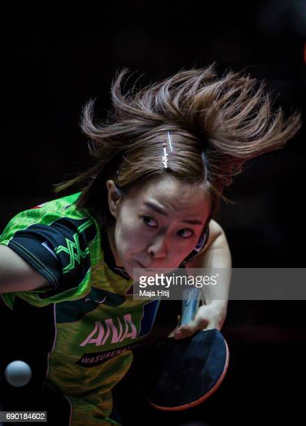 Kasumi Ishikawa of Japan competes during women Double 1 Round at Table Tennis World Championship at Messe Duesseldorf on May 30 2017 in Dusseldorf...