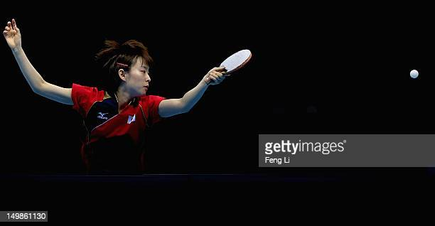 Kasumi Ishikawa of Japan competes during Women's Team Table Tennis semifinal match against team of Singapore on Day 9 of the London 2012 Olympic...
