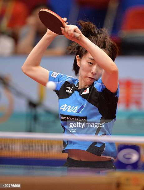 Kasumi Ishikawa of Japan competes in her Women's Singles first round match against Zhou Yihan of Singapore on day three of 2014 ITTF World Tour China...