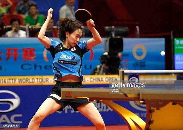 Kasumi Ishikawa of Japan competes in her Women's Singles quarterfinal match against Li Xiaoxia of China on day four of 2014 ITTF World Tour China...