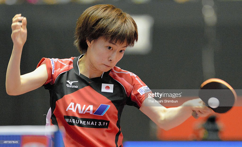 Kasumi Ishikawa of Japan competes in the game against Erica Wu of the United States during day two of the 2014 World Team Table Tennis Championships at Yoyogi National Gymnasium on April 29, 2014 in Tokyo, Japan.