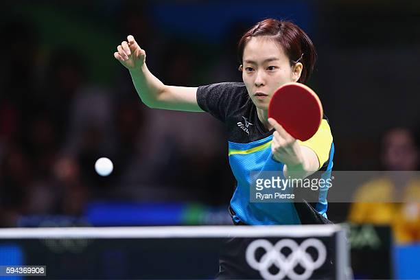 Kasumi Ishikawa of Japan competes in the Table Tennis Women's Team Round Quarter Final between Japan and Austria during the Table Tennis Men's Team...