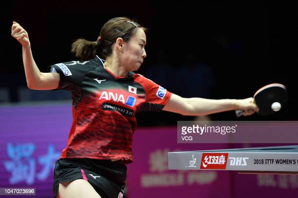 Kasumi Ishikawa of Japan competes in the Women's Singles 3rd position match against Cheng IChing of Chinese Taipei on day three of 2018 ITTF Women's...