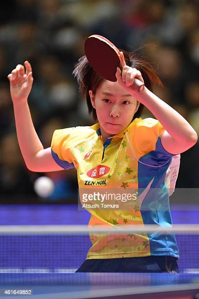 Kasumi Ishikawa of Japan competes in the Women's Singles during day six of All Japan Table Tennis Championships 2015 at Tokyo Metropolitan Gymnasium...