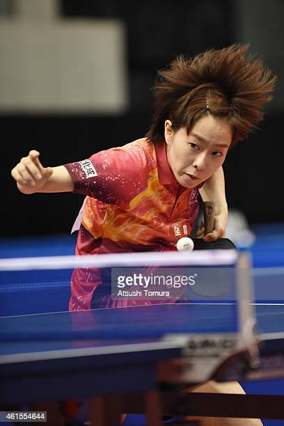 Kasumi Ishikawa of Japan competes in the Women's Singles during the day four of All Japan Table Tennis Championships 2015 at Tokyo Metropolitan...