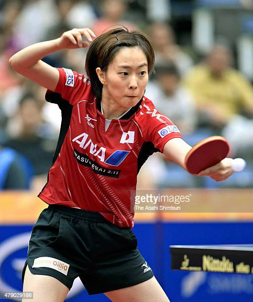 Kasumi Ishikawa of Japan competes in the Women's Singles quarter final match against Ding Ning of China during day four of the ITTF World Tour Super...