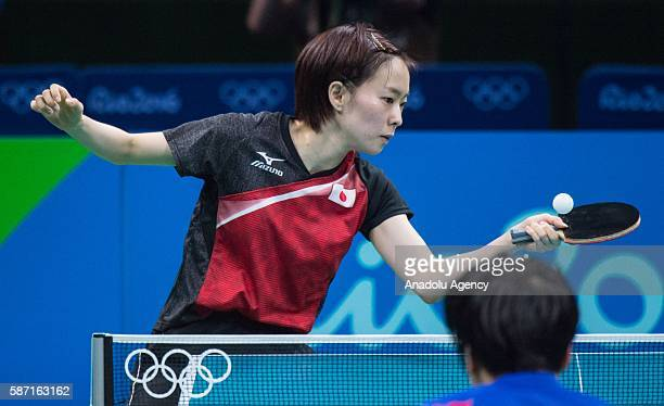 Kasumi Ishikawa of Japan in action against Song I Kim of the Peoples Republic of Korea during women's singles third round match on second day of the...