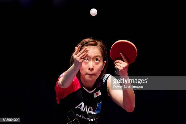 Kasumi Ishikawa of Japan in action against Yang Haeun of South Korea at their Women's Singles Quarter Final match during the Seamaster Qatar 2016...