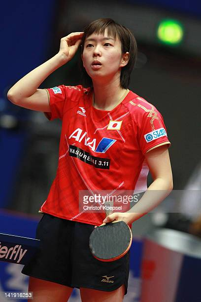 Kasumi Ishikawa of Japan looks on during her match against Natalia Partyka of Poland during the LIEBHERR table tennis team world cup 2012...