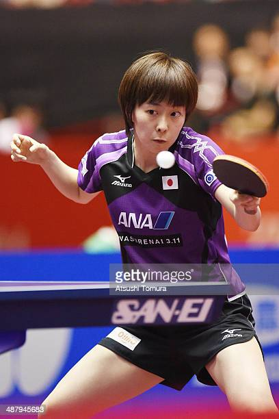 Kasumi Ishikawa of Japan plays a forehand against Jiao Li of Netherlands during day six of the 2014 World Team Table Tennis Championships at Yoyogi...