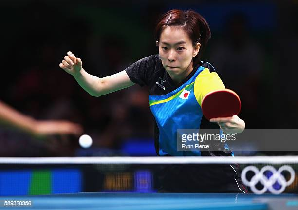 Kasumi Ishikawa of Japan plays a shot during the Table Tennis Women's Team Round Quarter Final between Japan and Austria during Day 8 of the Rio 2016...