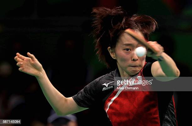 Kasumi Ishikawa of Japan plays a Women's Singles third round match against Song I Kim of the Peoples Republic of Korea on Day 2 of the Rio 2016...