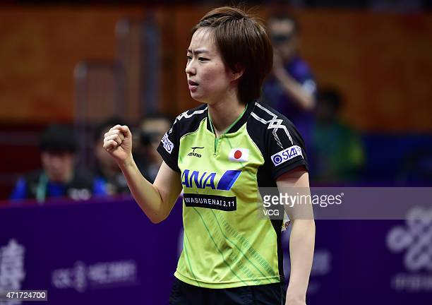 Kasumi Ishikawa of Japan reacts against Kim Hyok Bong and Kim Jong of North Korea with her team mate Maharu Yoshimura during Mixed Doubles Semifinal...
