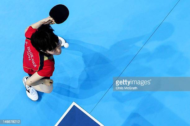 Kasumi Ishikawa of Japan serves during the Women's Singles Table Tennis quarterfinal match against Yuegu Wang of Singapore on on Day 4 of the London...