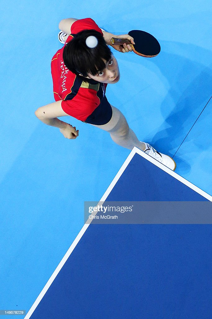 Kasumi Ishikawa of Japan serves during the Women's Singles Table Tennis quarter-final match against Yuegu Wang of Singapore on on Day 4 of the London 2012 Olympic Games at ExCeL on July 31, 2012 in London, England.