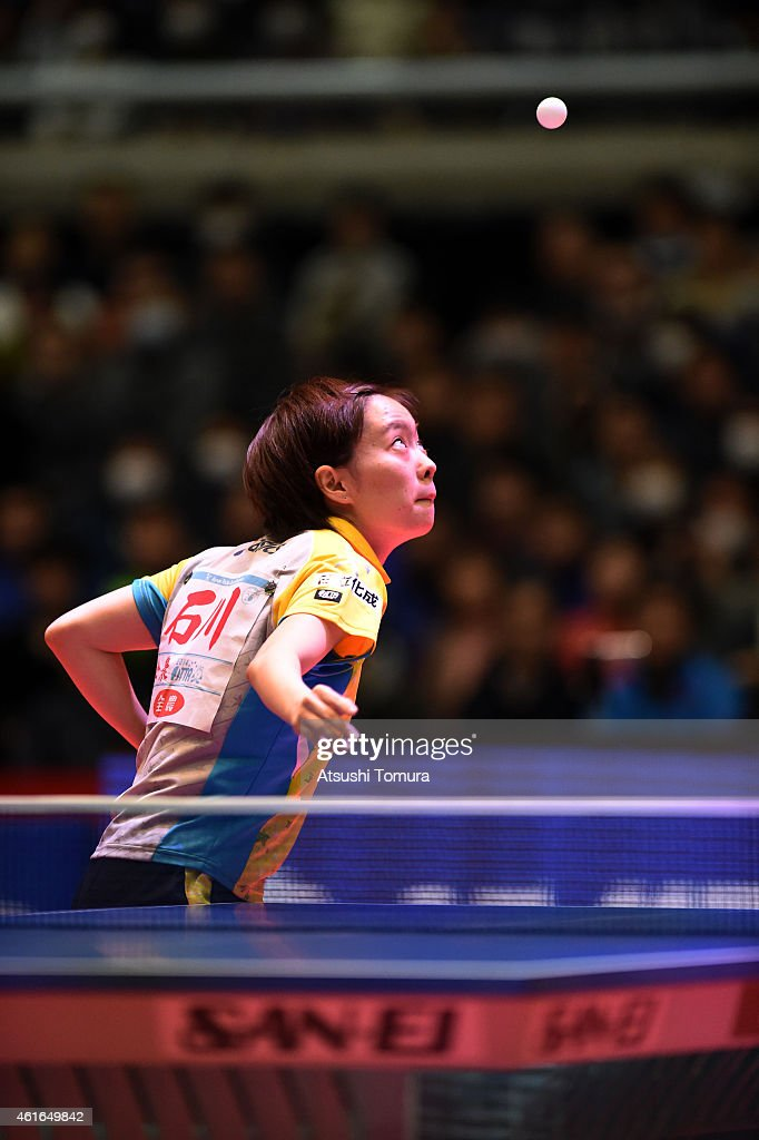 Kasumi Ishikawa of Japan serves in the Women's Singles during day six of All Japan Table Tennis Championships 2015 at Tokyo Metropolitan Gymnasium on January 17, 2015 in Tokyo, Japan.