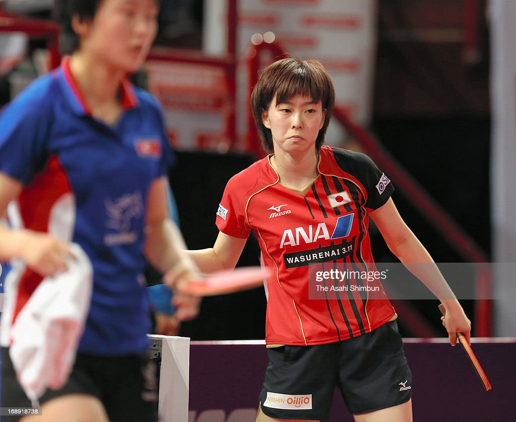 Kasumi Ishikawa of Japan shows her dejection after being defeated by Ri Myong Sun of North Korea in the Women's 3rd round match during day four of the World Table Tennis Championships on May 16, 2013 in Paris, France.