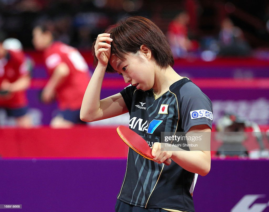 Kasumi Ishikawa of Japan shows her dejection after defeated in the Mixed Doubles 3rd round match between Kasumi Ishikawa and Maharu Yoshimura of Japan and Lee Sangsu and Park Youngsook of South Korea during day four of the World Table Tennis Championships on May 16, 2013 in Paris, France.