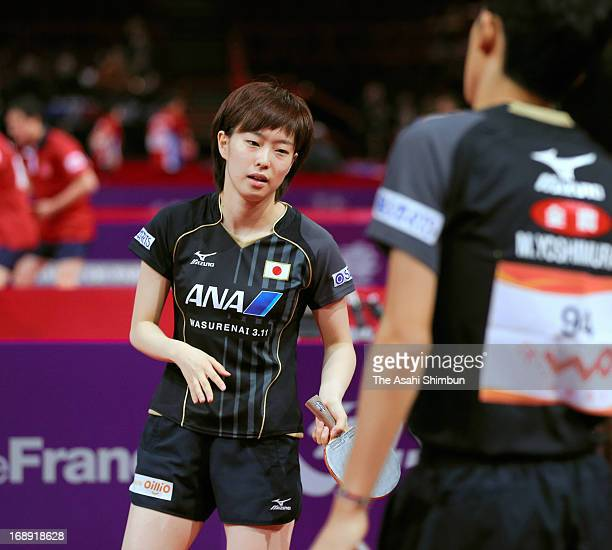 Kasumi Ishikawa of Japan shows her dejection after losing a point during the Mixed Doubles 3rd round match between Kasumi Ishikawa and Maharu...