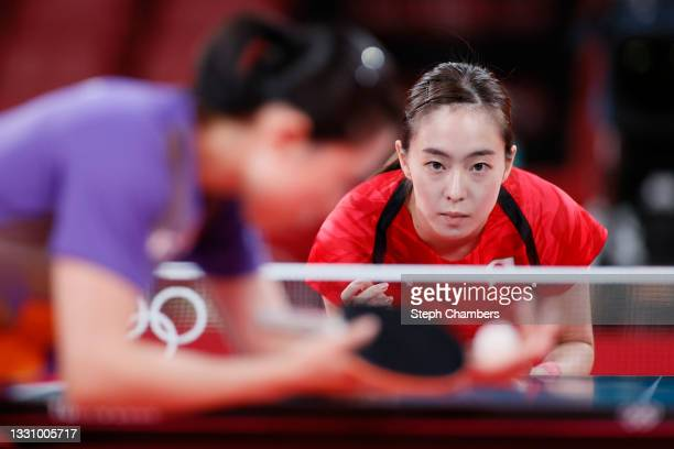 Kasumi Ishikawa of Team Japan in action during her during her Women's Singles Quarterfinals table tennis match on day five of the Tokyo 2020 Olympic...