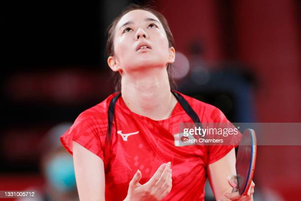 Kasumi Ishikawa of Team Japan reacts during her during her Women's Singles Quarterfinals table tennis match on day five of the Tokyo 2020 Olympic...
