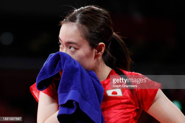 Kasumi Ishikawa of Team Japan reacts during her Women's Singles Quarterfinals table tennis match on day five of the Tokyo 2020 Olympic Games at Tokyo...