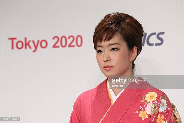 Kasumi Ishikawa speaks to the media after the press conference on April 6 2015 in Tokyo Japan ASICS became the gold partner the highest of three...