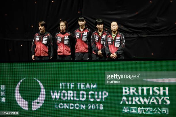 Kasumi, ITO Mima, HIRANO Miu, HAYATA Hina, and the coach BABA Mika - Japanese women team and is receiving silver medals after loosing the finals with...