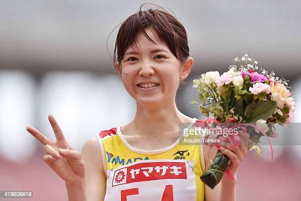 Kasumi Nishihara of Japan celebrates after winning the Women's 10000 metres final during the 99th Japan Athletics National Championships at Denka Big...