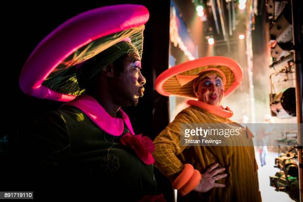 Kat B as Victiqua and Tony White as Queeniqua during a performance of Cinderella at Hackney Empire on December 13 2017 in London England