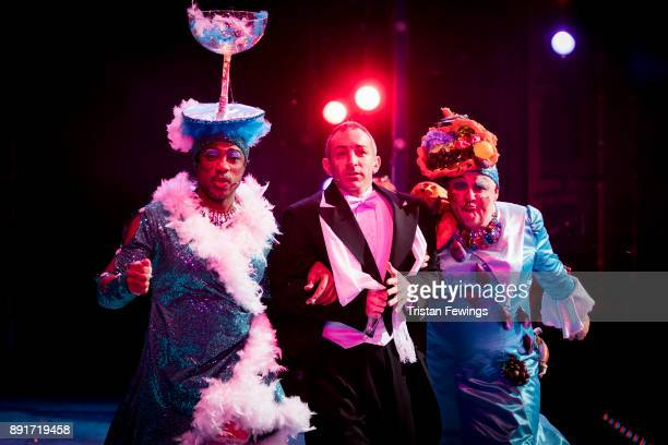 Kat B as Victiqua Stephane Anelli as Dandini and Tony White as Queeniqua during a performance of Cinderella at Hackney Empire on December 13 2017 in...