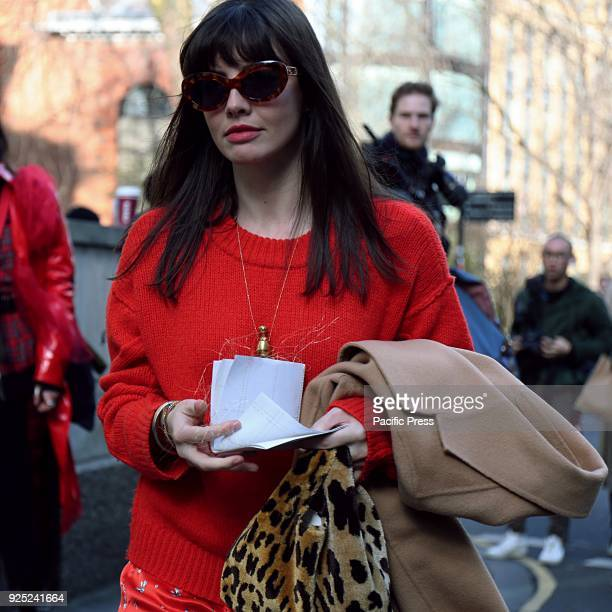 Kat Collings on the street during the London Fashion Week