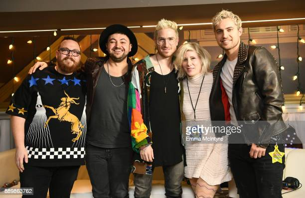 Kat Corbett poses with Sean Waugaman, Eli Maiman, Nicholas Petricca, and Kevin Ray of Walk The Moon pose backstage during KROQ Almost Acoustic...