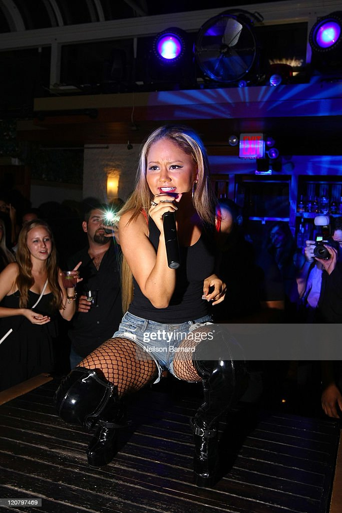 Kat DeLuna Performs On Stage During The NiteTables.com Launch Party At  Hudson Terrace On