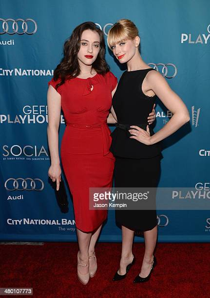 Kat Dennings and Beth Behrs attend Geffen Playhouse's Annual Backstage At The Geffen Gala at Geffen Playhouse on March 22 2014 in Los Angeles...