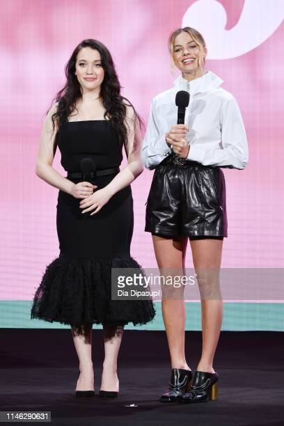 Kat Dennings and Margot Robbie speak onstage during the Hulu '19 Presentation at Hulu Theater at MSG on May 01, 2019 in New York City.