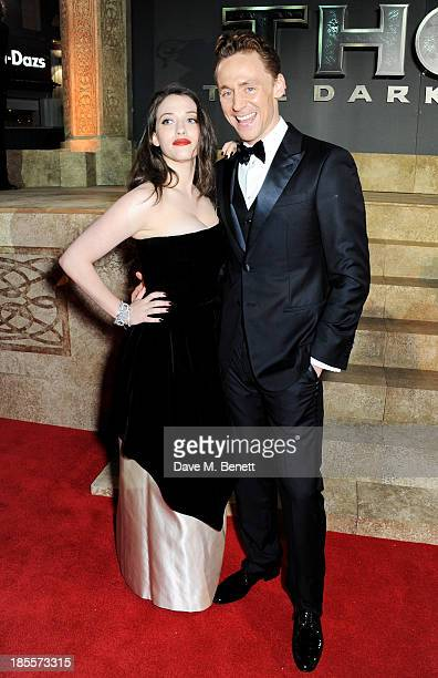 "Kat Dennings and Tom Hiddleston attend the World Premiere of ""Thor: The Dark World"" at Odeon Leicester Square on October 22, 2013 in London, England."