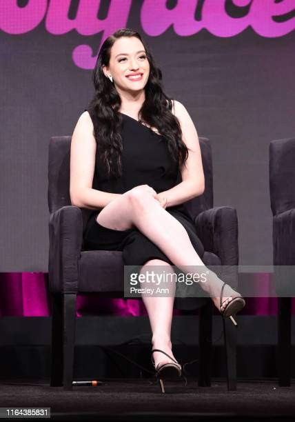 Kat Dennings speaks onstage during the Hulu 2019 Summer TCA Press Tour at The Beverly Hilton Hotel on July 26 2019 in Beverly Hills California
