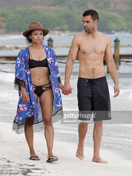 Kat Graham and Cottrell Guidry are seen vacationing at Sandals Whitehouse European Village Spa on July 3 2014 in an unspecified location in Jamaica