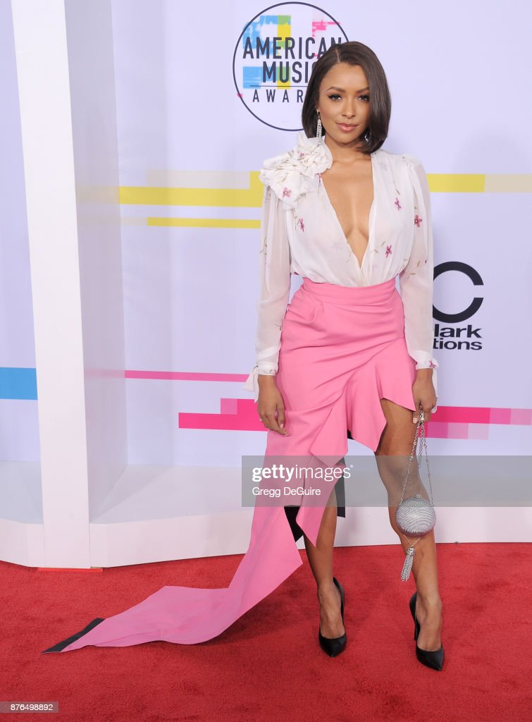 Kat Graham arrives at the 2017 American Music Awards at Microsoft Theater on November 19, 2017 in Los Angeles, California.