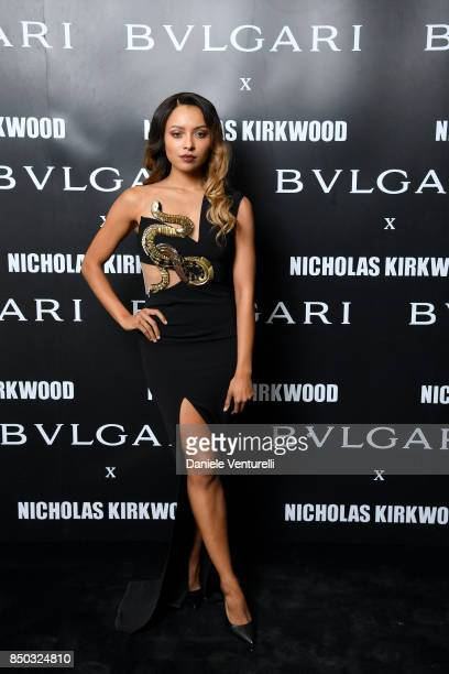 Kat Graham attends a party celebrating 'Serpenti Forever' By Nicholas Kirkwood for Bvlgari on September 20 2017 in Milan Italy