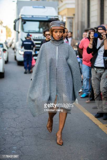 Kat Graham attends the Ermanno Scervino show at Milan Fashion Week Spring Summer 2020 on September 21, 2019 in Milan, Italy.