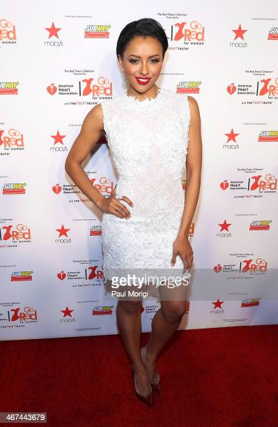 Kat Graham attends the Go Red For Women The Heart Truth Red Dress Collection during MercedesBenz Fashion Week Fall 2014 at The Theatre at Lincoln...