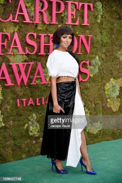 Kat Graham attends the Green Carpet Fashion Awards at Teatro Alla Scala on September 23 2018 in Milan Italy