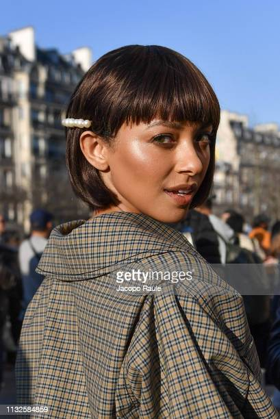 Kat Graham is seen arriving at Rochas fashion show during Paris Fashion Week Womenswear Fall/Winter 2019/2020 on February 27 2019 in Paris France