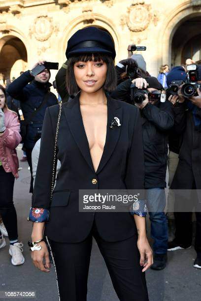 Kat Graham is seen arriving at Schiaparelli show on January 21 2019 in Paris France