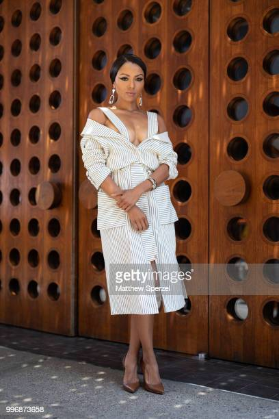 Kat Graham is seen on the street during Men's New York Fashion Week wearing Romeo Hunte on July 11 2018 in New York City