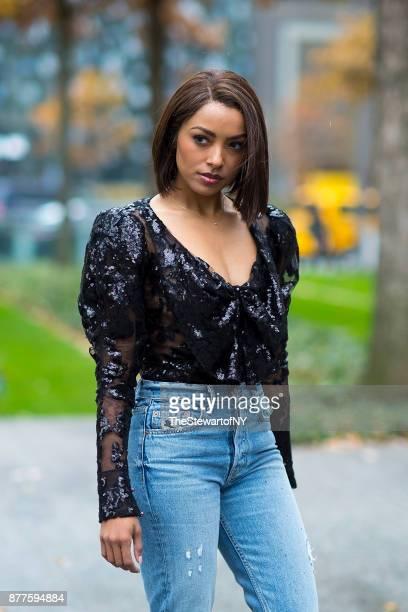 Kat Graham is seen wearing Rodarte in Tribeca on November 22 2017 in New York City